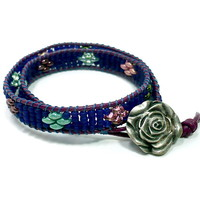 Cobalt Blue Beaded MultiColor Superduo Double Wrap Leather Bracelet