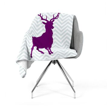 "Suzanne Carter ""Chevron Deer"" Purple  Fleece Throw Blanket"