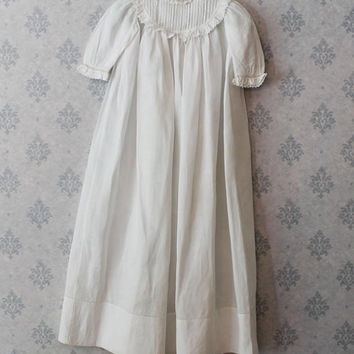 Antique Victorian 1800s Long White Cotton Pintucked Baby's Christening or Baptismal Gown or Dress