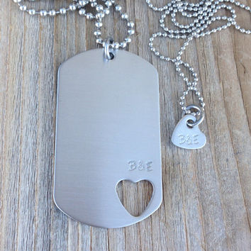 Hand stamped dog tag necklace set with initials open heart  stainless steel jewelry