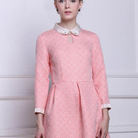Pink Plaid Peter Pan Collar Long Sleeve Mini Dress