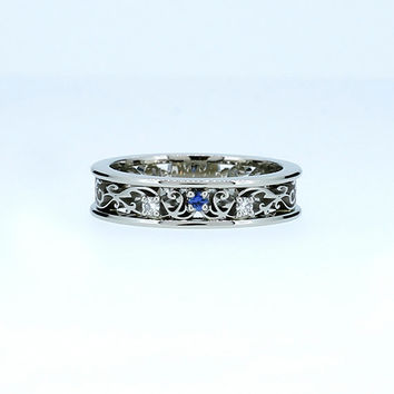 size 7.5 5% SALE, Blue sapphire filigree ring, white gold, wedding, Diamond ring, sapphire wedding, filigree ring, blue engagement, unique