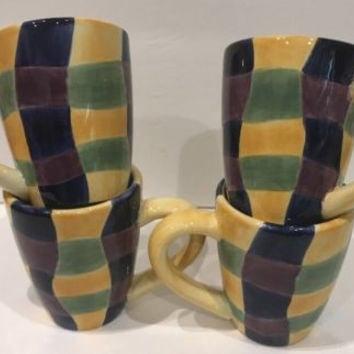 Tabletops Unlimited Chromatique 4 Mugs Drinkware HandPainted Colors Squares Cups