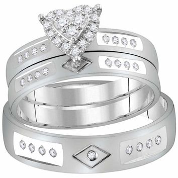 14kt White Gold His & Hers Round Diamond Heart Matching Bridal Wedding Ring Band Set 1/4 Cttw - FREE Shipping (US/CAN)