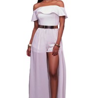 Chicloth White Frill Off Shoulder Chiffon Maxi Romper Dress
