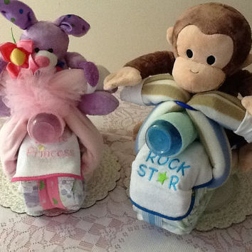 Unique Diaper Cakes Baby Shower Gifts, Curious George and Princess Motorcyclists