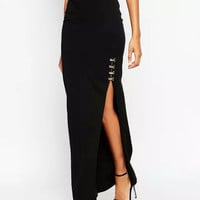 Black Ankle-Length Elastic Waist Skirt