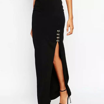 Black Clip Maxi Skirt With Slit