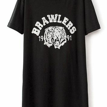 Casual Black Monogram Tiger Head Print Cotton Blend Dress