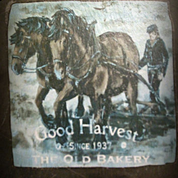 Vintage Picture On The Stone, Rock, Horses Motive, Harvest, Bakery, Wall Decor, Home Decor, Bar Decor