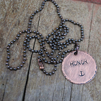 Honor Anchor Necklace for the Navy Man in Your Life
