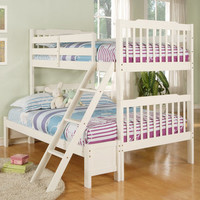 Simone Soft White Twin/ Full Bunk Bed | Overstock.com
