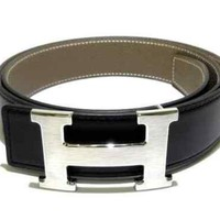 Auth HERMES Black Silver Leather Hardware H Belt X #85