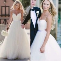 A-line Long Ivory Wedding Dress with Spaghetti Straps Custom Size 2 4 6 8 10 12