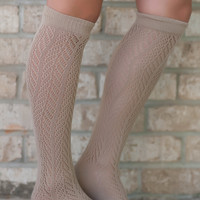 Taupe Knee High Knit Socks