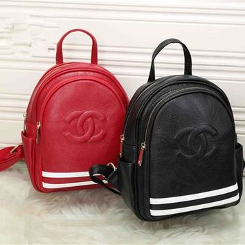 """Chanel"" Women Casual Fashion Multicolor Stripe Embossed Letter Logo Double Shoulder Bag Small Backpack"