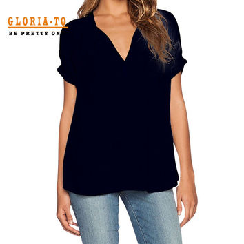 Black T Shirt Women V Neck Oversize Chiffon Top Casual Plus Size T Shirt Women Shirts 2017 T-shirt Female Summer Solid Color Top