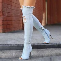 Fashion Women Fish mouth Denim Ripped Heels Shoes Boots Shoes