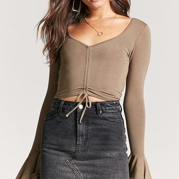 Ruched Drawstring Crop Top