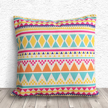 Pillow Cover, Aztec Pillow Cover, Tribal Pillow Cover, Linen Pillow Cover 18x18 - Printed Geometric - 044