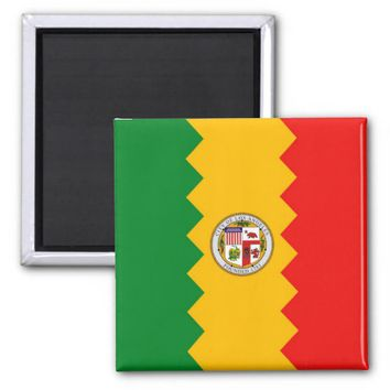 Magnet with Flag of Los Angeles, California