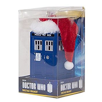 Doctor Who LED Light up Christmas Ornament Tardis with Santa Hat