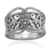 Oxidized Ornate Ring with Marcasite