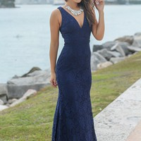 Navy Lace Maxi Dress with Open Back