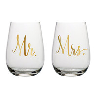 Mr. & Mrs. Stemless Wine Glass