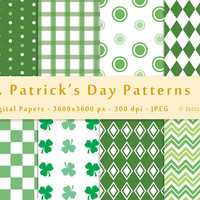 St Patricks Day Digital Paper Pack, Digital Background Printable Paper Green