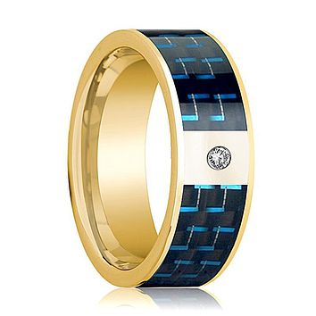 Mens Wedding Band 14K Yellow Gold and Diamond with Black & Blue Carbon Fiber Inlay Flat Polished Design