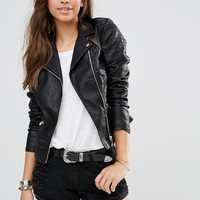 New Look | New Look Leather Look Biker Jacket at ASOS