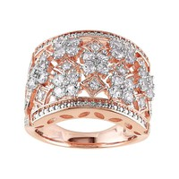 Lab-Created White Sapphire Pink Rhodium-Plated Sterling Silver Ring