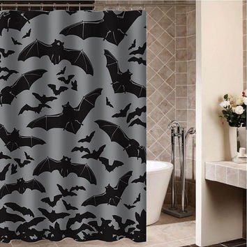 "Spooksville Bats Custom Shower curtain,Sizes available size 36""w x 72""h 48""w x 72""h 60""w x 72""h 66""w x 72""h"