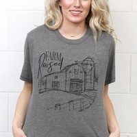 Farm Raised Barn + Silo Graphic Tee {Grey}