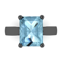 Classic Solitaire Engagement Ring 14K Black Gold with 9x7mm Emerald Cut Aquamarine Center - V1100