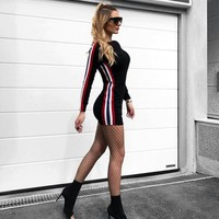 Winter Stripes Long Sleeve Slim Dress One Piece Dress [196422533146]