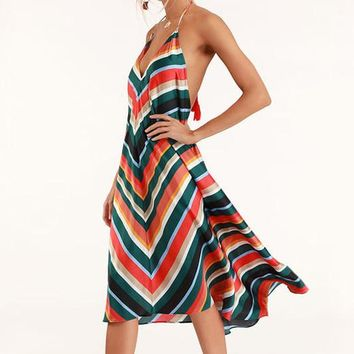 Summer Popular Women Sexy Deep V Collar Colorful Stripe Sleeveless Backless Halter Dress