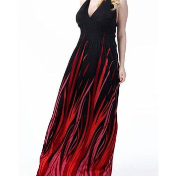 Halter Neck Ombre Maxi Summer Maxi Dress 7XL
