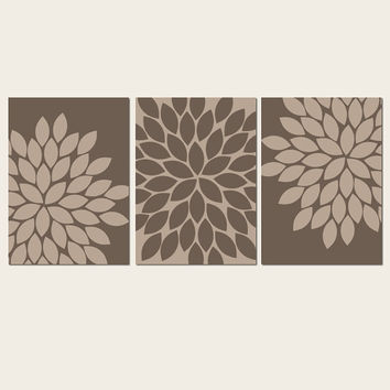 Brown Mocha Beige Wall Art Bedroom Kitchen Wall Art CANVAS or Prints Bathroom Wall Art Flower Wall Art Flower Burst Dahlia Set of 3