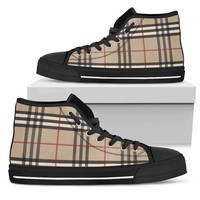 Women's High Top Canvas Shoes Inspired by Burberry