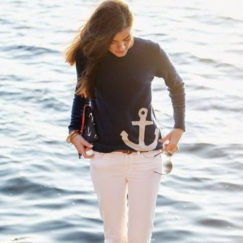 Anchor Print Long Sleeve Sweatshirts