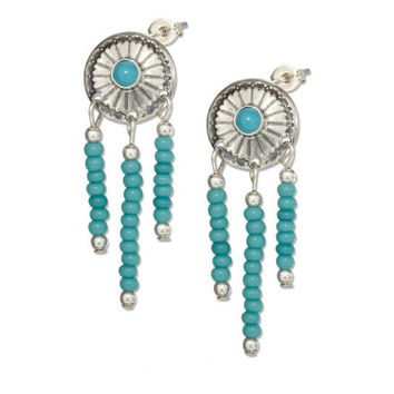 Sterling Silver Concho Earrings With Pony Bead Fringe