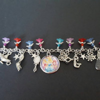 Disney princess fairy tales themed stainless steel charm bracelet