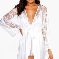Connie Bridal Lace Short Satin Night Robe | Boohoo