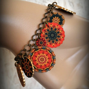 Circus Charm Bracelet - Vintage Style Circus - Vintage Textile Bracelet - Vintage Style Bracelet - Big Tent Jewelry - Cirque Jewelry - Charm