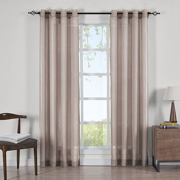 MAUVE 50x108 Abri Grommet Crushed Sheer Curtain Panels (Set of 2)