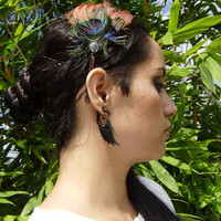 Fake Gauge Earrings ,Organic Black Horn, Split Gauge Earrings Fancy Wing Feather Tribal