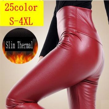 Autumn And Winter Plus Velvet PU High Waist Pants Female Fashion Leather Skinny Pants Plus Size S-4XL Much Colors