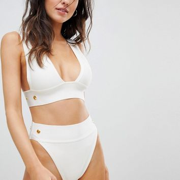 ASOS Gold Stud Detail Bandage High Leg High Waist Bikini Bottom at asos.com